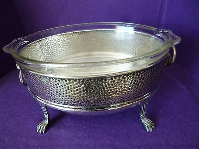 May Sale - A Beautiful Vintage Silver Plated / Pyrex Entree Serving Tureen