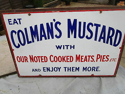 Very rare vintage 1910 ColemansMustard enamel Sign excellent condition for age