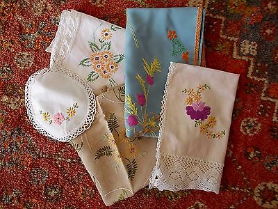 Antique Hand Embroidered Table Runner~Chair Back~Tray Cloth~Cushion Cover~Doilie