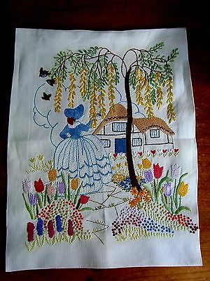 Vintage Picture Panel Crinoline Lady Flowers Gorgeous Raised Hand Embroidery