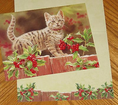 Kitten and Holly Susan Bourdet Art cat Lang Christmas Cards 6ct