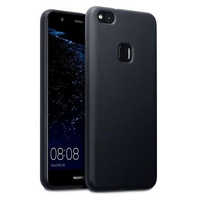 Silicone Rubber Gel Thin Slim Soft Jelly Case in Matte Black for Huawei P10 Lite
