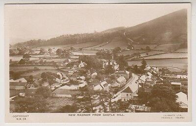 Wales postcard - New Radnor from Castle Hill - RP