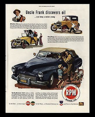 "Original 1947 ""rpm Motor Oil"" Uncle Frank Discovers Oil Vintage Art Print Ad"