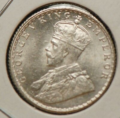 India - British, 1925 1/4 Rupee, silver, Uncirculated, over polished dies, 11gcm