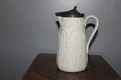 Antique Staffordshire Relief Mould Jug, Feldspathic Stoneware-Pewter Cover- 19Th