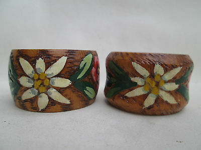 A Lovely Pair of Vintage Wooden Napkin Rings Hand Painted