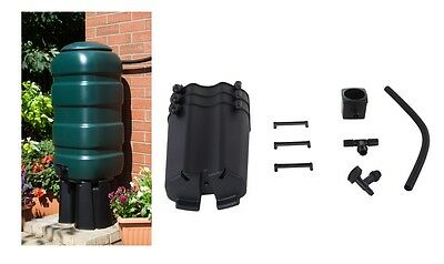 Whitefurze 100L Slimline Space Saver Garden Water Butt Kit With Stand Tap Hose
