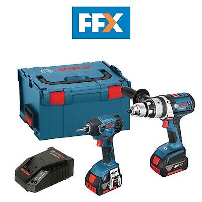 Bosch GSBRSTWIN 18v Combi Drill and Impact Driver Twin Kit 2 x 4ah in L-Boxx