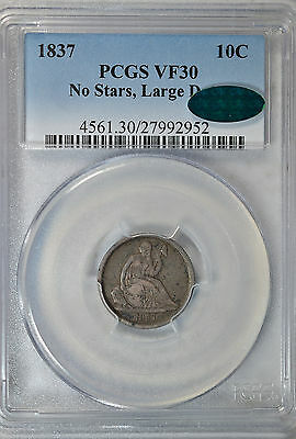 1837 Seated dime, No Stars, PCGS VF30 CAC
