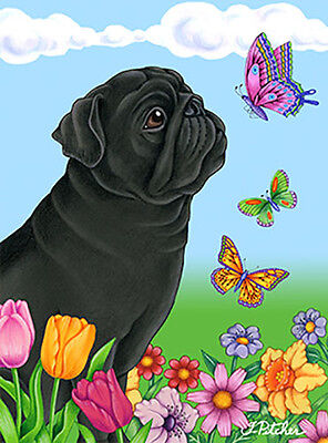Large Indoor/Outdoor Butterfly (TP) Flag - Black Pug 98089