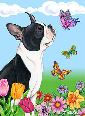 Large Indoor/Outdoor Butterfly (TP) Flag - Boston Terrier 98032