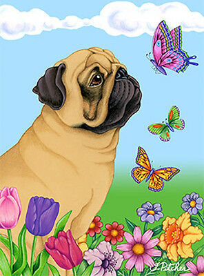 Large Indoor/Outdoor Butterfly (TP) Flag - Fawn Pug 98022