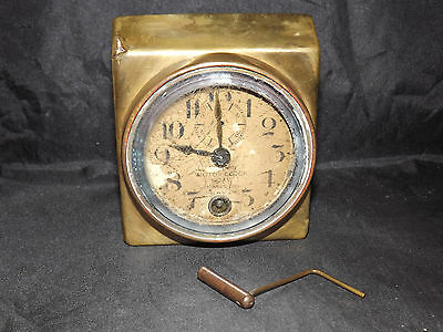 ANTIQUE BRASS SATURN MOTOR 8 DAY CAR or SHIPS CLOCK