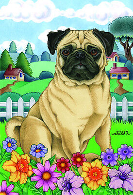 Large Indoor/Outdoor Spring Flag - Fawn Pug 73022 TP