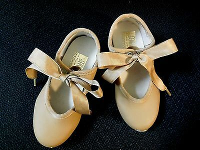 New without box  Main Street Girls Tan Tap Shoes Ribbon Tie w/elastic Tappette