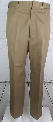Vintage Khaki Tapered Flat Front Preppy Cotton Chino Trousers W33 DW05
