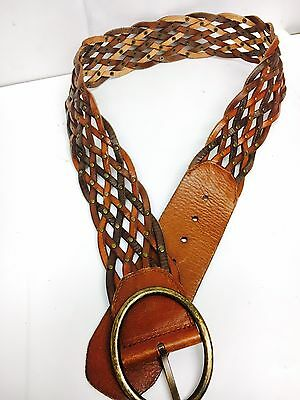 VTG Fossil Wide Brown Leather Braided Hip Waist Studded belt Weave Hippie Large