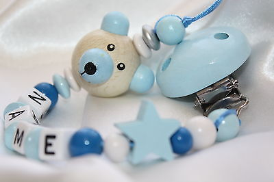 Personalised Wooden 3D Blue TEDDY BEAR Dummie Clip /  Chain + FREE organza bag