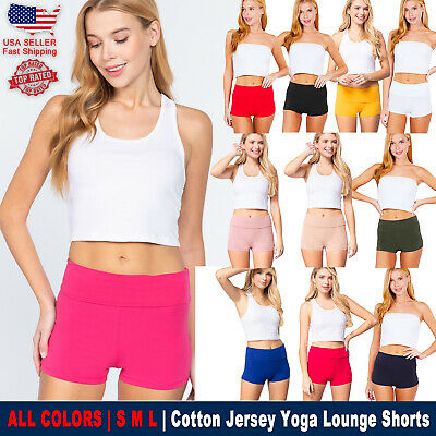 2 FOR $10 New Active Yoga Pants Gym Workout Waist Band Solid Fold Over Shorts