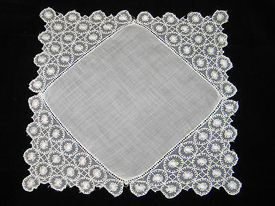 EXQUISITE ANTIQUE vtg  Hand MADE NEEDLE LACE WEDDING HANKY/HANDKERCHIEF~Ex COND