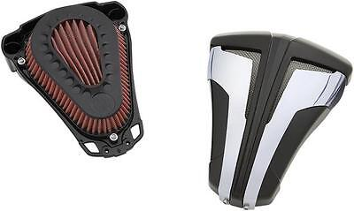 Ciro Cipher Air Cleaners Black with Chrome Blades #35104 Harley Davidson
