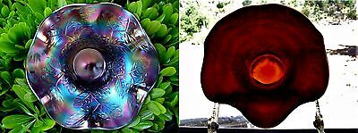 """FENTON""""CARNIVAL GLASS""""MINT+PERF~ANTIQUE""""c1911""""ELECTRIC""""RED""""HOLLY""""HAT/BASKET/VASE"""