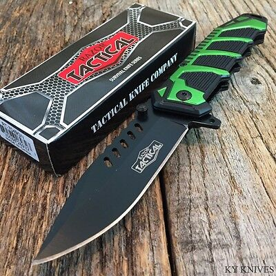 """RAZOR TACTICAL 8.5"""" Spring Assisted Open TACTICAL  Pocket Knife BOWIE Green"""