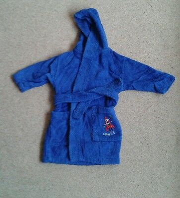 Boys MOTHERCARE hooded towelling robe lads dressing gown blue 12-18 mths rocket