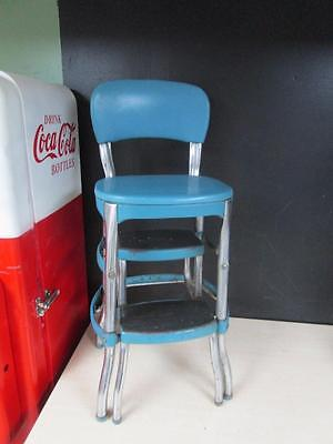 VTG Mid Cent Metal Chrome Cosco Step Stool Chair Kitchen Retro 1950's