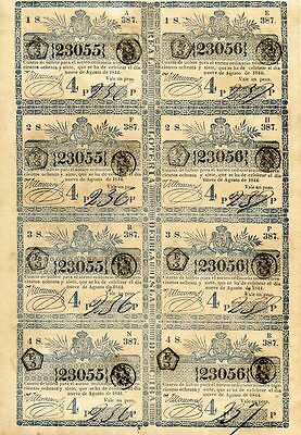 1844 Spain Colonial West Indies Lottery Tickets Uncut Sheet