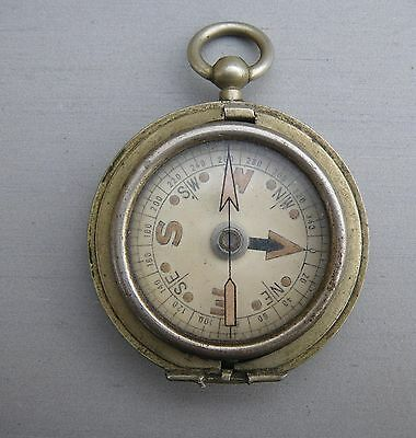Small Antique Plated Brass Cased Pocket Fob Compass