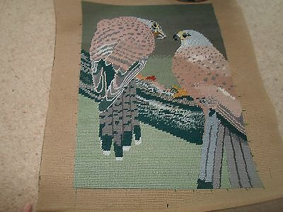 Fab Colourful Completed Handmade Tapestry PAIR OF KESTREL BIRDS OF PREY
