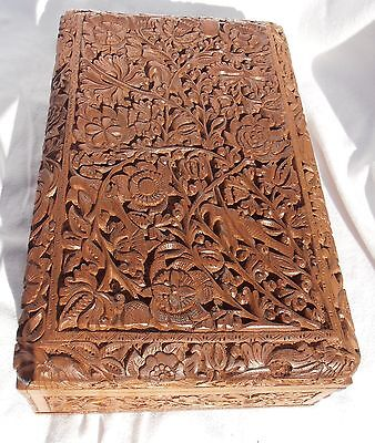 Vintage Oriental Wooden Jewellery  ( Jewelry ) Box Extensively Carved
