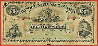 Banque Nationale D'haiti September 1875 5 Piastres (Pick#72)