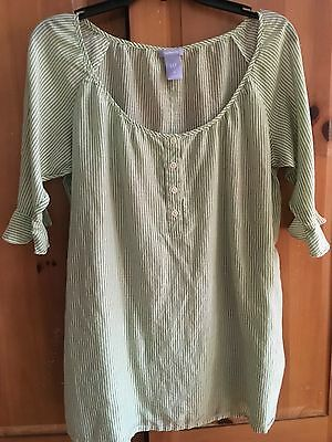 GAP Maternity Green Ticking Stripe Cotton/Silk Henley Tunic Shirt Misses size M