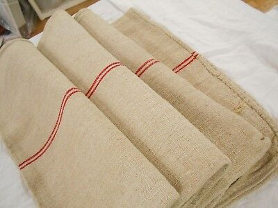 20x51 Vtg Antique RED STRIPE European HEMP LINEN Primitive FEED SACK GRAIN BAG