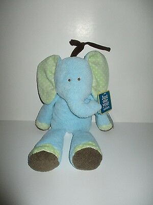 Carters Just One Year Blue Green Elephant Musical Blue Toy Plush New Baby