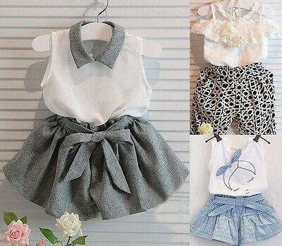 2PCS Kids Baby Girls T-shirt Tops+Pants Dress Summer Outfits Clothes Sets 1-7Y