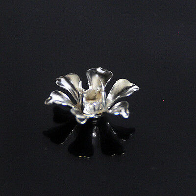 20pcs Silver Plated Brass Filigree Stamped Flower Front Diamond Setting bf17s