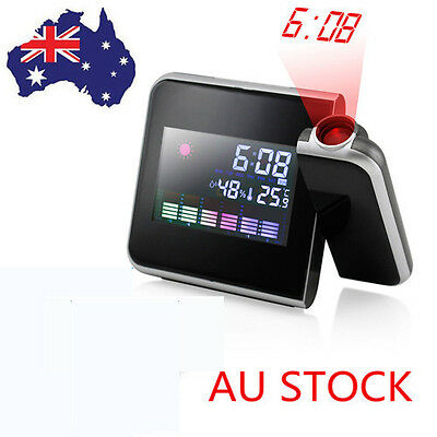 AU Projection Digital Weather LED Snooze Alarm Clock Color Display Backlight