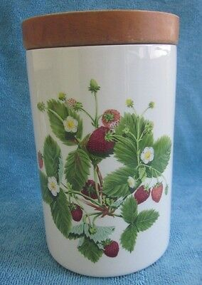 PORTMEIRION Summer Strawberries 17.9cm CANISTER porcelain base with wooden lid