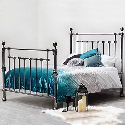 Luxury Quality Ornate Black Nickel Polished Metal Bed Frame Double King Size