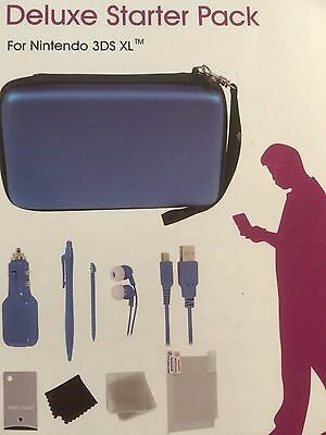 Nintendo 3DS XL 9 in 1 Deluxe STARTER KIT * BLUE * NEW inc Case, Stylus etc
