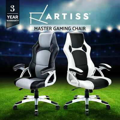Artiss Gaming Chair Office Chair Computer Leather Chairs Seating Racing Black