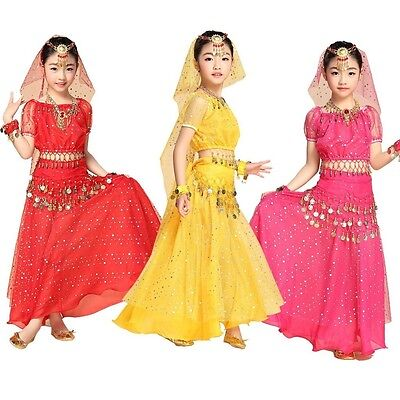 Girl Kid Belly Dance Costume Outfit Bollywood Indian Carnival Children Skirt Set