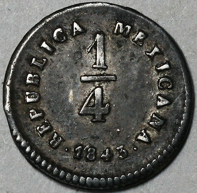 1843-Mo MEXICO Date Error Silver 1/4 real Coin (17041331R)