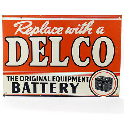 Vintage Original Delco Battery Sign Dated 1956