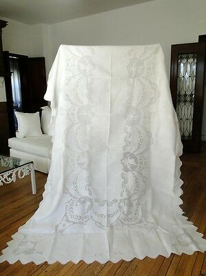 Exquisite Appenzell Lace Tablecloth W/cherubs,ladies ,betterflies