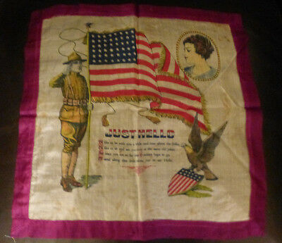 874627dd0bb1 Vintage Handkerchief Silk Wwii Soldier With 48 Star Flag   Verse To  Sweetheart